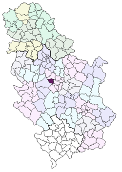Location of the municipality of Stragari within Serbia