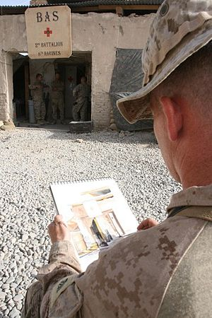 Kristopher Battles - Sgt. Kristopher J. Battles, sketching while on active duty in Iraq.