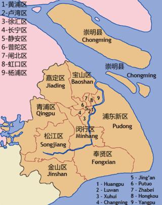 Das administrative Stadtgebiet Shanghais – im Norden die Kernstadt (Puxi)
