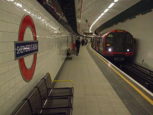Shepherd's Bush tube station - An eastbound train calls at the station