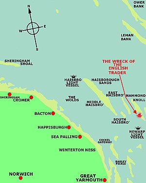 SS English Trader - Map showing the site of the wreck of the English Trader