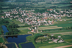 Bird's eye view of Siennica