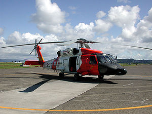 Sikorsky MH-60 Jayhawk - Sikorsky HH-60J Jayhawk (USCG registration number 6008) on the tarmac at Coast Guard Air Station Astoria, Oregon
