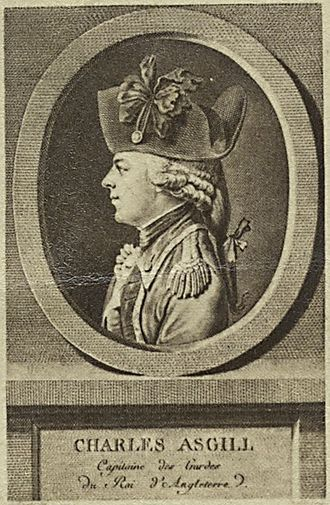 Sir Charles Asgill, 2nd Baronet - Original French engraving by Juste Chevillet, published in 1784.