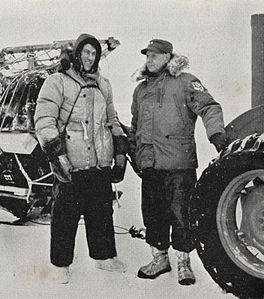 Sir Edmund Hillary with Rear-Admiral George Dufek at Scott Base during the Commonwealth Trans-Antarctic Expedition, 1957.jpg