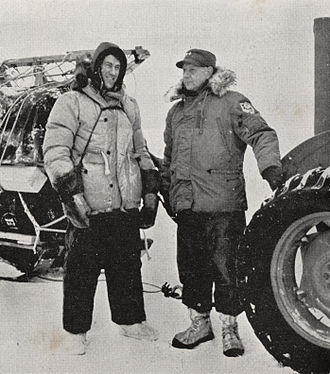 Commonwealth Trans-Antarctic Expedition - Hillary (left) with Rear-Admiral George J. Dufek at Scott Base just before the expedition's departure from the base.