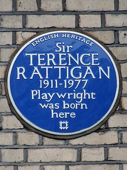Sir terence rattigan 1911 1977 playwright was born here