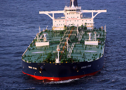 The Very Large Crude Carrier (VLCC) MV Sirius Star in 2008, after her capture by Somali pirates Sirius Star 2008b.jpg