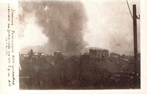 Great fire of Smyrna - The start of the fire, seen from Bella Vista. 13 September 1922