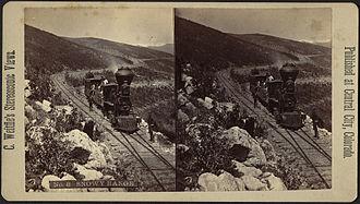 Colorado Central Railroad - Stereoscopic image of the Snowy Range in Colorado with a train of the Colorado Central RR.