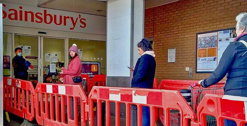 File:Social distancing queueing for the supermarket J. Sainsbury's north London Coronavirus Covid 19 pandemic - 30 March 2020.jpg
