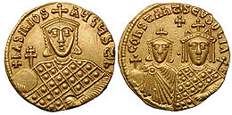 Solidus-Basil I with Constantine and Eudoxia-sb1703.jpg
