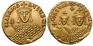 Basil I - Basil, his son Constantine, and his second wife, Empress Eudokia Ingerina.