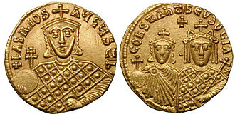 Battle of Bathys Ryax - Gold coin of the Emperor Basil I. The victory of Bathys Ryax and the subsequent dissolution of the Paulician state were among the major triumphs of his reign.