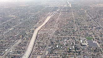 South Los Angeles -  The junction of the 110 and the 105 freeways as seen by aircraft.