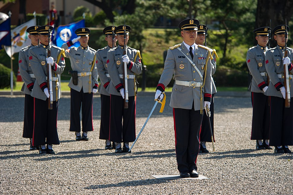 South Korean service members stand at attention during a change of command ceremony for the United Nations Command, Combined Forces Command and U.S. Forces Korea Oct. 2, 2013, in Seoul, South Korea 131002-D-KC128-325