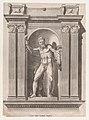 Speculum Romanae Magnificentiae- Sculpture of a faun standing in a niche after a statue in Scipione Borghese's villa MET DP870282.jpg