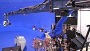 A blue screen set used during filming.