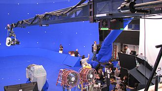 Chroma key - Film set for The Spiderwick Chronicles, where a visual effects scene using bluescreen chroma key is in preparation