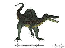 fiskande Spinosaurus teckning av Frederik Spindler