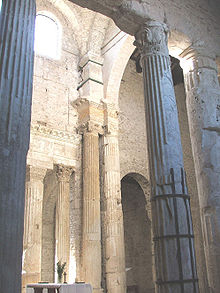 Physical Christianization: the choir of San Salvatore, Spoleto, occupies the cella of a Roman temple.