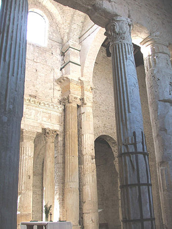Physical Christianization: the choir of San Salvatore, Spoleto, occupies the cella of a Roman temple. Spoleto SSalvatore Presbiterio1.jpg