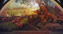 Fotografía de un mural titulado Ataque indio a la aldea de St. Louis, 1780, que representa la batalla de St. Louis.