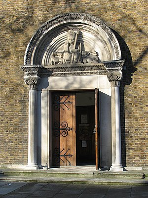 Alfred Gerrard - Carving over entrance to St Anselm's church, Kennington Cross, 1933