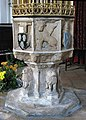 St John the Baptist's church - C14 baptismal font - geograph.org.uk - 1507445.jpg