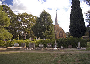 St John the Baptist Church, Reid - Part of the graveyard and lawns of St John's Church, Reid, Canberra, ACT.