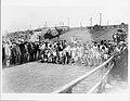 Start of the Marathon Race, 1904 Olympics. A- Runners prepare for start. B. David R. Francis fires starting gun.jpg