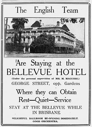 English cricket team in Australia in 1932–33 - Advertisement for the Bellevue Hotel, where the English team stayed during the fourth test