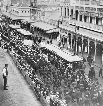 Snowball marches - The March of the Dungarees along Queen Street, Brisbane, 1915