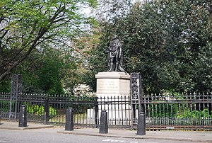 Park Crescent, London - Statue (1824) of Prince Edward, Duke of Kent by Sebastian Gahagan.