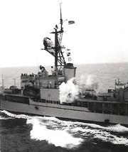 Steam locomotive whistle aboard USS Higbee (DD-806), circa in 1970