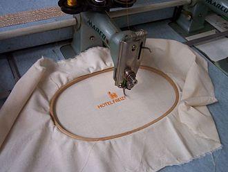 Machine embroidery - Machine embroidery in progress.