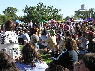 Stolen Generations - Crowds viewing a public broadcast of the federal parliament's apology in Elder Park, Adelaide.
