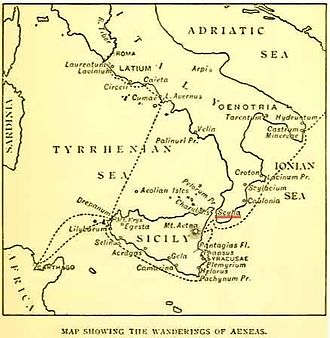 Charybdis - The Strait of Messina, with Scylla (underlined in red) and Charybdis on the opposite shores