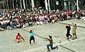 Street theatre in the Beaubourg forecourt, Paris 1987.jpg