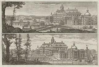 Regiæ arcis Drottningholmensis Palatij facies à parte orientali