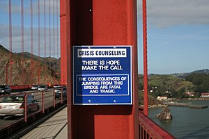 Suicide bridge - As a suicide prevention initiative, this sign on the Golden Gate Bridge promotes a special telephone that connects to a crisis hotline.