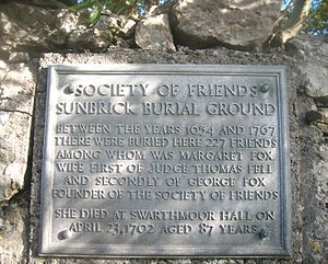 Margaret Fell - A plaque at the Society of Friends' burial ground in Sunbrick, Urswick, Margaret Fox's resting place