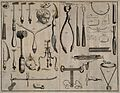 Surgical instruments for trepanation. Engraving with etching Wellcome V0016314.jpg