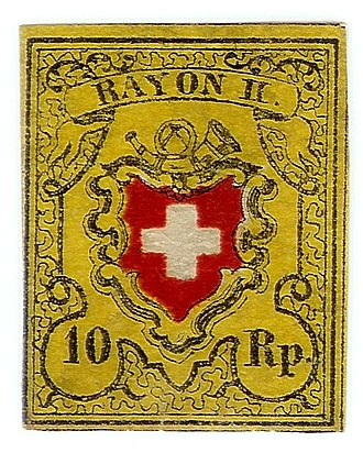 Local mail and rayon stamps of Switzerland - Image: Swiss Post Rayon II stamp 1850