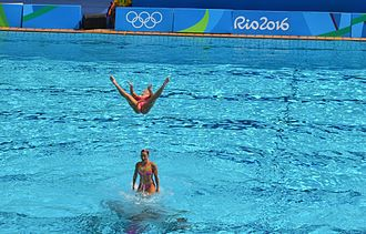 Synchronized swimming at the 2016 Summer Olympics - The Brazilian duet team, performing during competition at the Maria Lenk Aquatic Center.