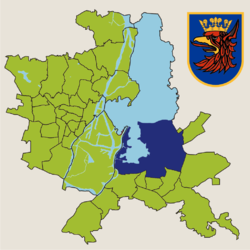 Location of Dąbie within Szczecin