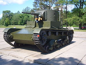 "T-26 - T-26 mod. 1933 at the museum ""Breaching of the Leningrad Blockade"" near Kirovsk, Leningrad Oblast. This tank was raised from a river bottom at Nevsky Pyatachok in May 2003."