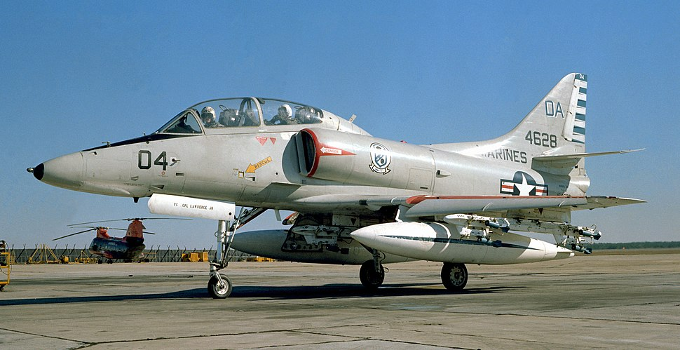 TA-4F Skyhawk from H&MS-32 at MCAS Cherry Point on 1 December 1978 (cropped)