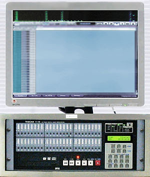 Digital audio workstation - An integrated DAW consisted of: a control screen, 48-track digital mixer integrated on hard disk recorder including data storage and audio interface.  (TASCAM X-48)