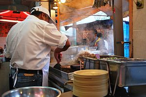 Mexican street food - A taco stand in Tacubaya, Mexico City
